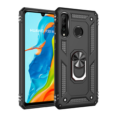 Phone Case Huawei P30 Lite / Nova 4E Rugged Armor [Drop-protection] with Car Magnetic Ring Holder black for Huawei P30 Lite / Nova 4E