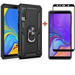[1-Pack] Samsung Galaxy A7 2018 Phone Case + [Full Cover Full Glue Tempered Glass] Screen Protector black for Samsung Galaxy A7 2018