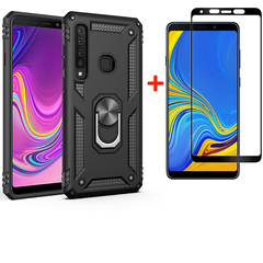 [1-Pack] Samsung Galaxy A9 2018 Phone Case + [Full Screen Full Glue Tempered Glass] Screen Protector black for Samsung Galaxy A9 2018
