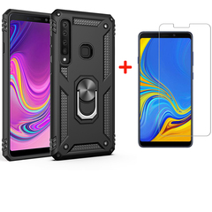 [1-Pack] Samsung Galaxy A9 2018 Phone Case + [HD Clear Tempered Glass] Screen Protector black for Samsung Galaxy A9 2018