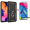[1-Pack] Samsung Galaxy A10 Phone Case + [Full Screen Full Glue Tempered Glass] Screen Protector black for Samsung Galaxy A10