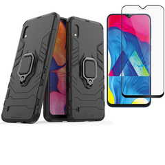 [1-Pack] Samsung Galaxy A10 Phone Case + [Full Cover Full Glue Tempered Glass] Screen Protector black for Samsung Galaxy A10
