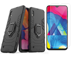 [1-Pack] Samsung Galaxy A10 Phone Case + [HD Clear Tempered Glass] Screen Protector black for Samsung Galaxy A10