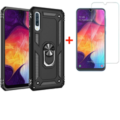 [1-Pack] Samsung Galaxy A50 Phone Case + [HD Clear Tempered Glass] Screen Protector black for Samsung Galaxy A50