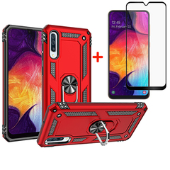 [1-Pack] Samsung Galaxy A50 Phone Case + [Full Screen Full Cover Tempered Glass] Screen Protector rose gold for Samsung Galaxy A50