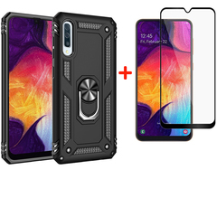 [1-Pack] Samsung Galaxy A50 Phone Case + [Full Screen Full Cover Tempered Glass] Screen Protector black for Samsung Galaxy A50