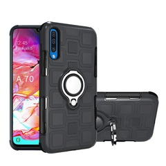Rugged Armor Phone Case for Samsung Galaxy A70 with Car Magnetic Ring Holder black for Samsung Galaxy A70