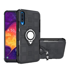 Rugged Armor Phone Case for Samsung Galaxy A50 with Car Magnetic Ring Holder black for Samsung Galaxy A50