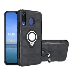 Rugged Armor Phone Case for Samsung Galaxy M20 Galaxy M30 with Car Magnetic Ring Holder black for Samsung Galaxy M20