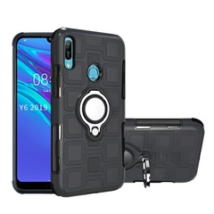 Rugged Armor Phone Case for Huawei Y6 2019 Y6 Prime 2019 Honor 8A  with Car Magnetic Ring Holder black for Huawei Y6 2019