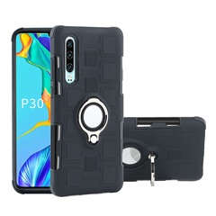Rugged Armor Phone Case for Huawei  P30 P30 Lite P30 Pro / P30 Plus with Car Magnetic Ring Holder black for Huawei  P30