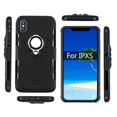 Rugged Armor Phone Case for iPhone X / iPhone 10 iPhone XS 5.8'' 2018 with Car Magnetic Ring Holder black for iPhone X / iPhone 10 2017