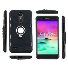 Shinwo - Phone Case for LG K10 2017 with Car Magnetic Ring Holder black for LG K10 2017