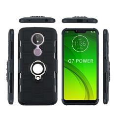 Shinwo - Phone Case for Motorola Moto G7 Power with Car Magnetic Ring Holder black for Motorola Moto G7 Power