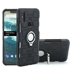 Shinwo - Phone Case for Motorola Moto One Moto P30 Play with Car Magnetic Ring Holder black for Motorola Moto One