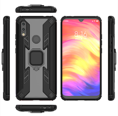 Rugged Armor Phone Case for Xiaomi Redmi 7 with Car Magnetic Ring Holder black for Xiaomi Redmi 7