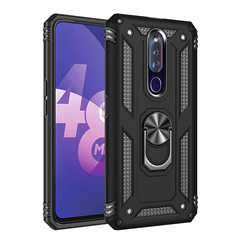 Rugged Armor Phone Case for OPPO F11 Pro with Car Magnetic Ring Holder black for OPPO F11 Pro