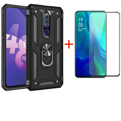 [1-Pack] OPPO F11 Pro Phone Case + [Full Cover Tempered Glass] Screen Protector black for OPPO F11 Pro