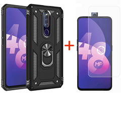 [1-Pack] OPPO F11 Pro Phone Case + [9H Tempered Glass] Screen Protector black for OPPO F11 Pro