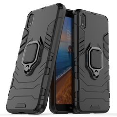 Rugged Armor Phone Case for Xiaomi Redmi 7A with Car Magnetic Ring Holder black for Xiaomi Redmi 7A