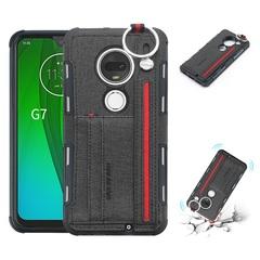 Shinwo - Motorola Moto G7 Moto G7 Plus TPU frame + Fabric Cloth Wallet Back Cover with Strap black for Motorola Moto G7