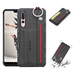 Shinwo - Huawei P20 Pro TPU frame + Fabric Cloth Wallet Back Cover with Strap black for Huawei P20 Pro