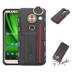 Shinwo - Motorola Moto G6 Play Moto E Moto E5 TPU frame + Fabric Cloth Wallet Back Cover with Strap black for Motorola Moto G6 Play