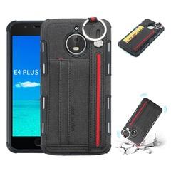 Shinwo - Motorola Moto E4 Plus TPU frame + Fabric Cloth Wallet Back Cover with Strap black for Motorola Moto E4 Plus
