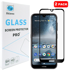 [2-PACK] For Nokia 2.2 Nokia 4.2 [Tempered Glass] [Full Screen Glue Cover] Screen Protector black for Nokia 2.2