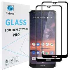 [2-PACK] For Nokia 3.2 [Tempered Glass] [Full Screen Glue Cover] Screen Protector black for Nokia 3.2