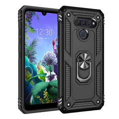 Shinwo - Rugged Armor Phone Case for LG Q60 LG K50 with Car Magnetic Ring Holder black for LG Q60