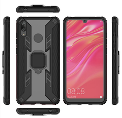 Phone Case for Huawei Y7 2019 / Y7 Prime 2019 [Drop-protection] with Car Magnetic Ring Holder black for Huawei Y7 2019 / Y7 Prime 2019
