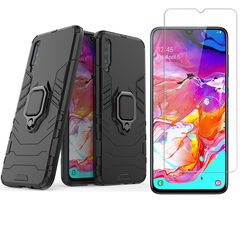 [1-Pack] Samsung Galaxy A70 Phone Case + [9H Tempered Glass] Screen Protector black for Samsung Galaxy A70