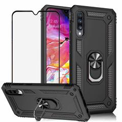 [1-Pack] Samsung Galaxy A70 Phone Case + [Full Cover Tempered Glass] Screen Protector black for Samsung Galaxy A70