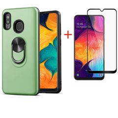 [1-Pack] Samsung Galaxy A20 / Galaxy A30 Phone Case + [Full Cover Tempered Glass] Screen Protector red for Samsung Galaxy A20 / Galaxy A30