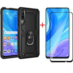 [1-Pack] Huawei Y9s 6.59'' Phone Case + [9D Full Glue Cover Tempered Glass] Screen Protector Black for Huawei Y9S