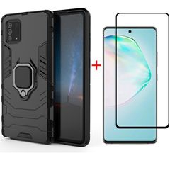 [1-Pack] Samsung Galaxy Note 10 Lite Phone Case + [9D Full Cover Tempered Glass] Screen Protector Black for Samsung Galaxy Note 10 Lite