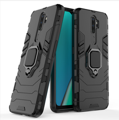 Case for OPPO A9 2020 / OPPO A5 2020, TPU+PC Heavy Duty Metal Ring Grip Kickstand Black for OPPO A9 2020 / A5 2020