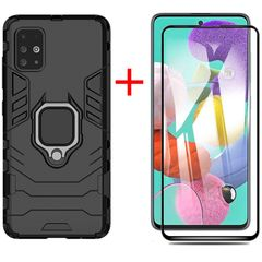 [1-Pack] Samsung Galaxy A51 Phone Case + A51 [9D Full Glue Cover Tempered Glass] Screen Protector Black for Samsung Galaxy A51