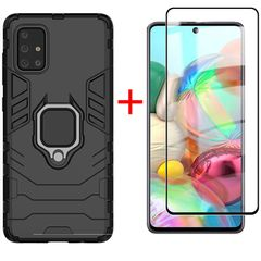 [1-Pack] Samsung Galaxy A71 Phone Case + A71 [9D Full Glue Cover Tempered Glass] Screen Protector Black for Samsung Galaxy A71