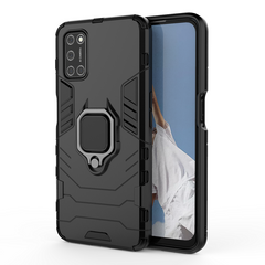 Phone Case for OPPO A92 / OPPO A52, TPU+PC Heavy Duty Metal Ring Grip Kickstand Black for OPPO A92 6.5inch