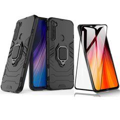 [1-Pack] Xiaomi Redmi Note 8 Phone Case + [9D Full Glue Cover Tempered Glass] Screen Protector Black for Xiaomi Redmi Note 8