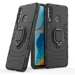 Phone Case for Huawei P30 Lite, Armor TPU+PC Heavy Duty Metal Ring Grip Kickstand Black for Huawei P30 Lite