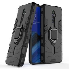 Phone Case for OPPO Reno 2F / Reno2 F 6.5'', Armor TPU+PC Heavy Duty Metal Ring Grip Kickstand Black for OPPO Reno 2F / Reno2 F 6.5inch