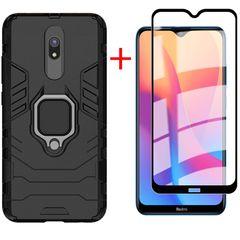 [1-Pack] Redmi 8A Phone Case + Redmi 8A [21D Full Glue Cover Tempered Glass] Screen Protector Black for Xiaomi Redmi 8A
