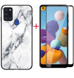 [1-Pack] Samsung Galaxy A21s Phone Case + [Full Cover Tempered Glass] Screen Protector colour6 for Samsung Galaxy A21s