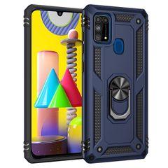 Phone Case Cover Samsung Galaxy M31, Armor TPU+PC Heavy Duty Metal Ring Grip Kickstand Blue for Samsung Galaxy M31