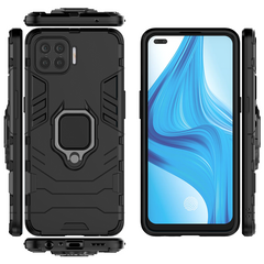Phone Cases for OPPO A93 Cover, Armor TPU+PC Heavy Duty Metal Ring Grip Kickstand Black for OPPO A93, 6.4''