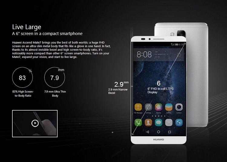 Refurbished Smartphone Huawei Mate 7 3GB+32GB -6''13+5 MP- Double SIM-4100mAh smartphone silver 2g+16g 10