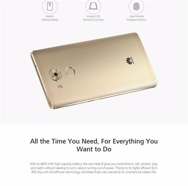 Refurbished phone Huawei Mate 8 +3+32GB -6''screen16+8 MP- Double SIM-4000mAh smartphone silver mokakin  golden 4GB+64GB 10